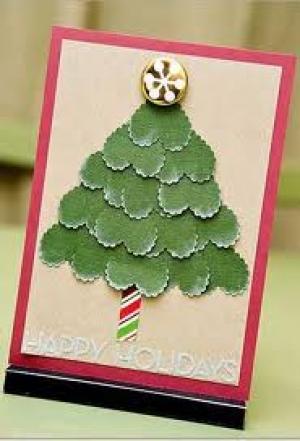 Kerstkaarten: Witte kerstboom